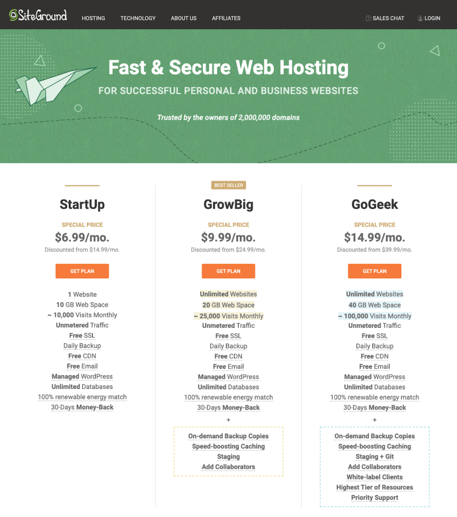 start a website with siteground