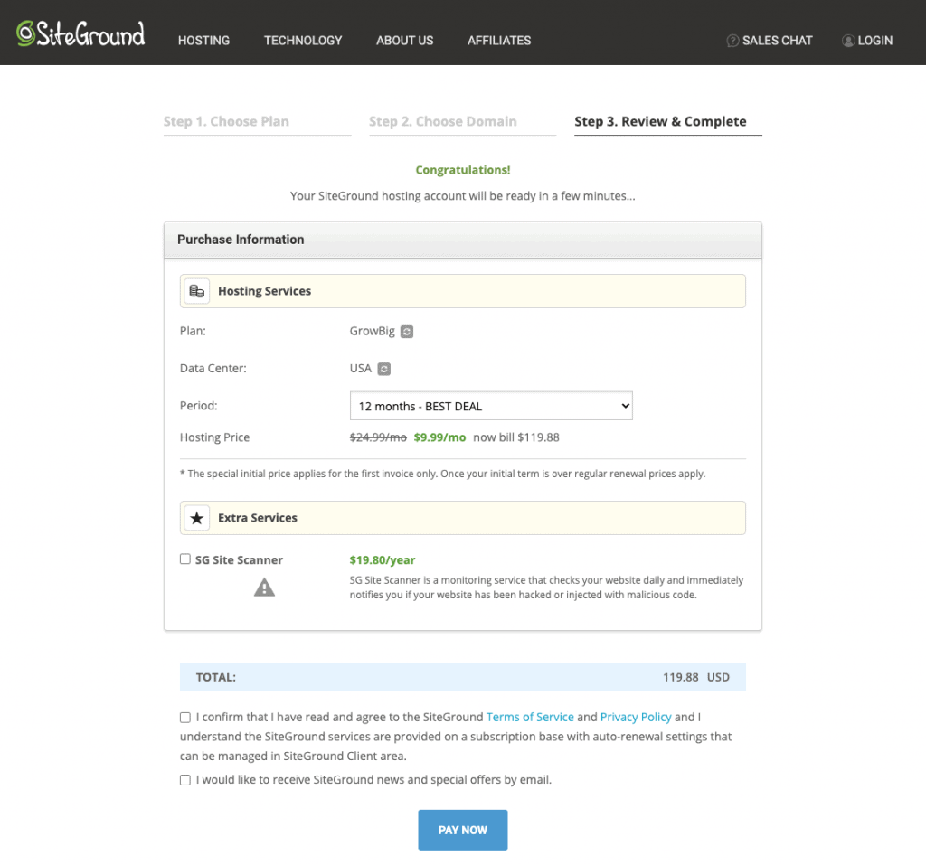 set up a freelance website with Siteground